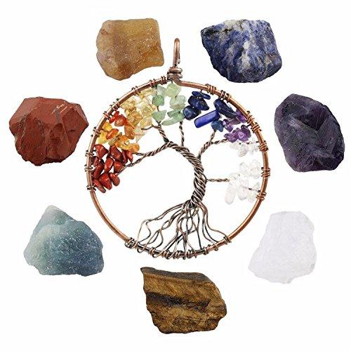 (SUNYIK 7 Chakra Stones Set, Natural Rough Raw Crystal Healing Kits,with 7 Chakra Stone Tree of Life Necklace)