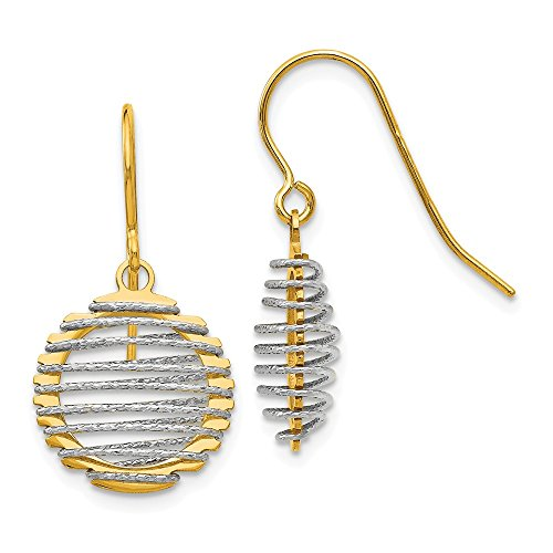 e Wire Wrapped Dangle Shephered Hook Earrings, 14 kt White and Yellow Gold ()