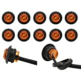 PEAKTOW PTL0212 Round 3/4 Inch 12V LED Submersible Clearance Marker Taillight Brake Stop Lights Indicators For Car Truck Van Trailer RV Boat Pack of 10 (Amber)
