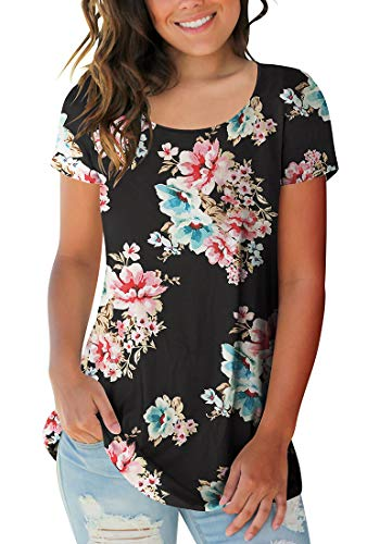 Sousuoty Women's Casual Floral T Shirts Short Sleeve Scoop Neck Tees Peony L