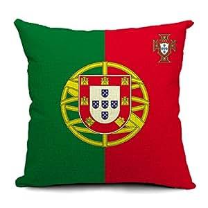 V-SOL Funda Para Cojín Algodón Con Cremallera Sin Relleno Y Estampado Bandera Nacional #26 Portugal