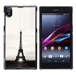 For Sony Xperia Z1 L39 - Architecture Eiffel Tower Sun B&W /Caja protectora de pl???¡¯????stico duro de la cubierta Dise???¡¯???¡Ào Slim Fit/ - Super