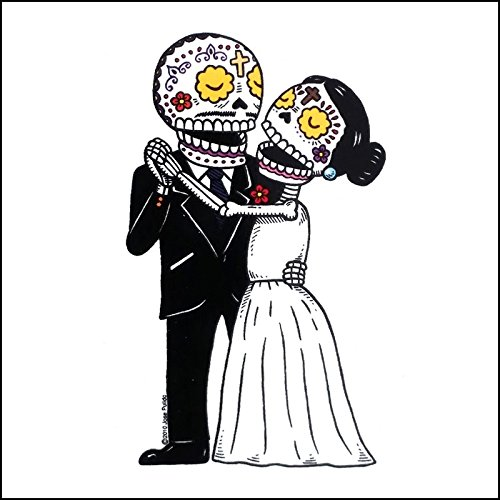 Wedding Bride and Groom Die Cut Clear Vinyl Sticker Sugar Skull - Day of the Dead - Weather Proof Decal -