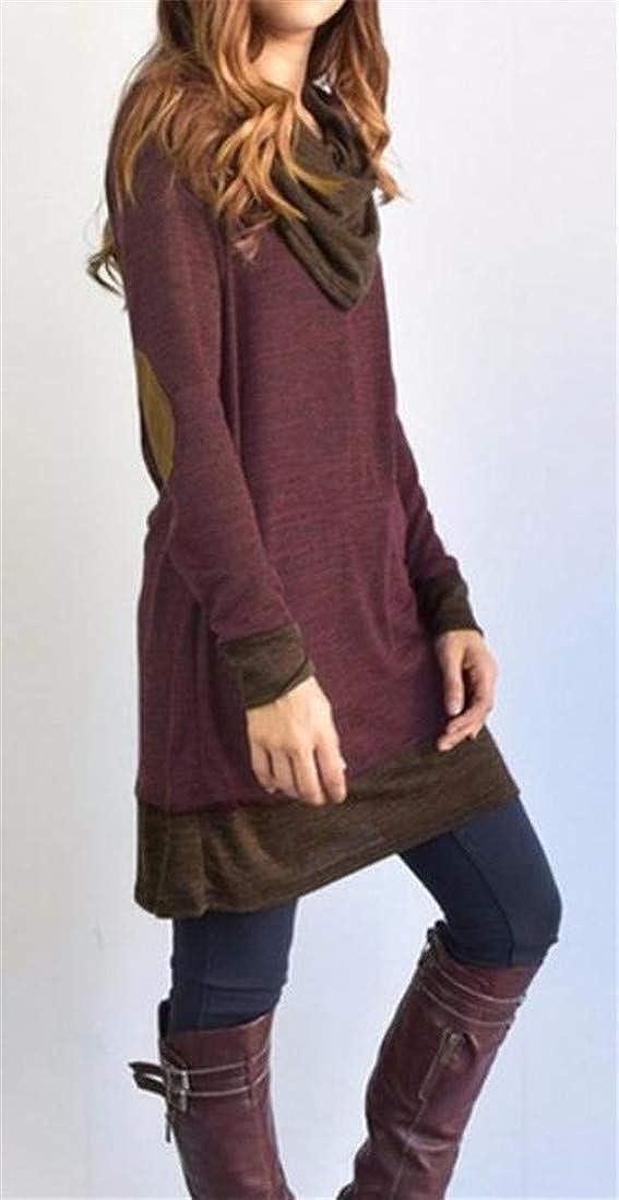 Hajotrawa Womens Elbow Patch Long Sleeve Cowl Neck Plus Size Blouse T-Shirts