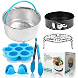 "Accessories Set for Instant Pot | Fits for 6, 8 Qt Instapot Pressure Cooker, Include Steamer Basket, Silicone Egg Bites Mold, 7"" Springfrom Pan, Trivet/Egg Steamer Rack, Kitchen Tong, 2 Oven Mitts"