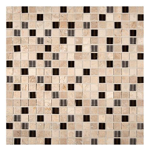 Quantum Paper Tray - M S International Cafe Noche 12 In. X 12 In. X 8mm Glass Stone Mesh-Mounted Mosaic Tile, (10 sq. ft., 10 pieces per case)
