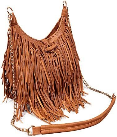 good looking timeless design best value LUI SUI Da donna Borse a tracolla stile Hobo in pelle con frange e nappa  Marrone
