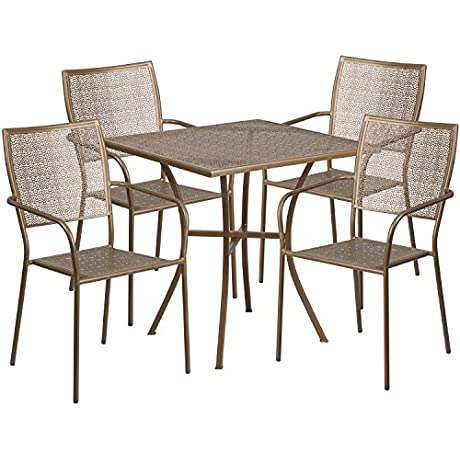Flash Furniture 28 Square Gold Indoor Outdoor Steel Patio Table Set With 4 Square Back Chairs