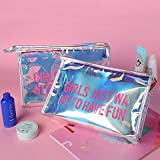 Holographic Cosmetic Transparent Purse Laser PVC Key Cute Wallet for for College Girls Teens Women