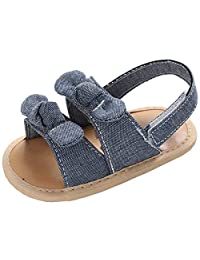 Bluckguy Baby Girl Bow Stripe Sandal Shoes Summer Walking Soft-Soled Non-Slip Princess Shoes 0-1 Years