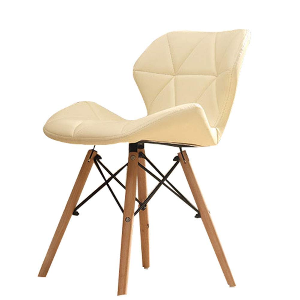 Beige LJX-marryjgo Casual and Comfortable Computer Chair, Ergonomic Design, Simple Modern Restaurant Exhibition Chair, Coffee House Dining Chair Computer Back Desk Chair (color   White)