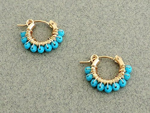 (Turquoise hoop earring,Personalized Womens Jewelry, Gold and Turquoise earrings, Small hoop earring gold delicate jewelry, swarovski stone, gift for her, women, girl)