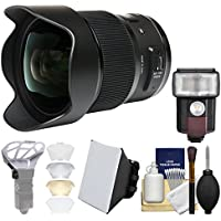 Sigma 20mm f/1.4 Art DG HSM Lens for Nikon Digital SLR Cameras with Flash + Soft Box + Diffuser Bouncer + Kit