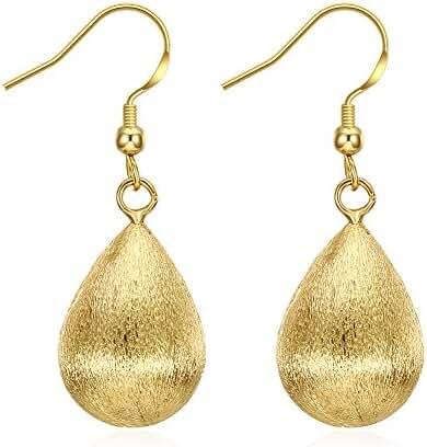 Dangle Earrings,Rose Gold Plated Sterling Silver Drop Hook Earrings Pear Shaped Teardrop Earrings
