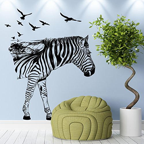 Gofan Removable Zebra Living Room Bedroom Kids Room Decal Wall (Spy Valley Wines)