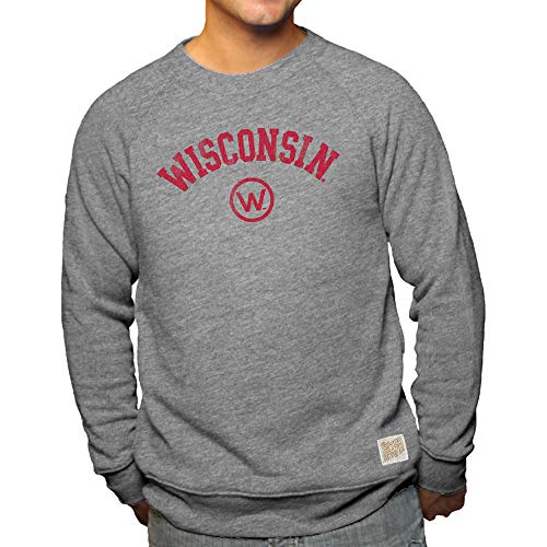 Elite Fan Shop Wisconsin Badgers Retro Triblend Crewneck Sweatshirt Gray - ()