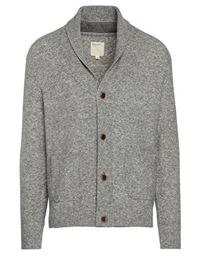 Life After Denim Men's Long Sleeve Oak Park Wool Blend Shawl Collar Cardigan, Heather Grey, Extra Large