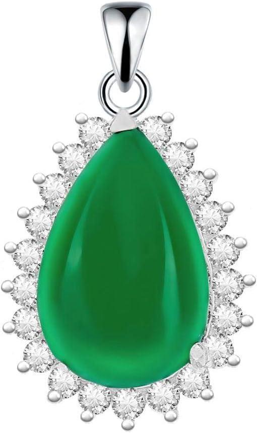 Collar de Plata de Ley 925 y Colgante con Forma de lágrima de Jade, para Mujer