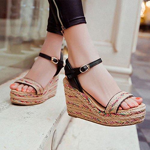 Mode Donna Sandali Zeppa 1 Black Zanpa 475fqawan