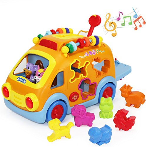 iPlay, iLearn Musical Bus, Push Pull Vehicle Toy, Electronic Car w/ Gear, Animal, Puzzle, Early Development Learning Educational Gift for Age 1, 2, 3, 4 Year Old Baby Infant Toddlers Kids Boys Girls Musical Push Toy