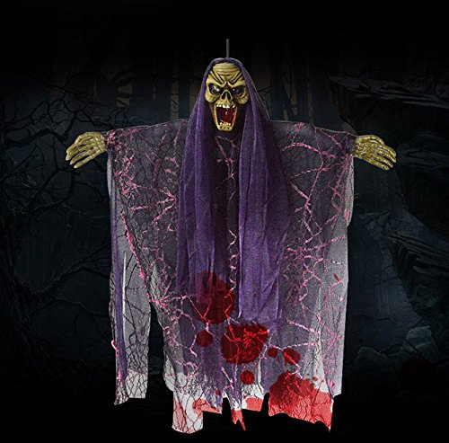 REAK Hanging Ghost Halloween Decorations Novelty Halloween Hanging Decorations Electric Scary Skeleton Ghost Witch with Sound and Flashing Eyes for Haunted House, Party, Horror Theme Bar, 18 (Halloween Horror Nights Sound Effects)
