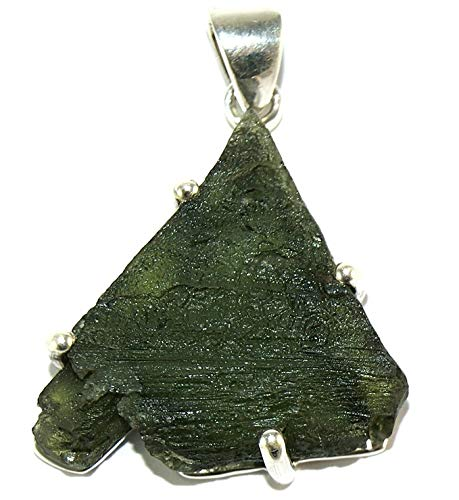 Moldavite Sterling Silver Pendant Raw Pyramid Natural Crystal MOLDP1805 by Gifts and Guidance