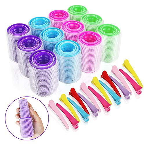 36 Piece Self Grip Hair Roller Set in 3 Sizes and 15 Pieces Plastic Duck Teeth Bows Hair Clips, Self Holding Rollers Salon Hairdressing Curlers for Hair Styling (44mm + 36mm + 25mm)