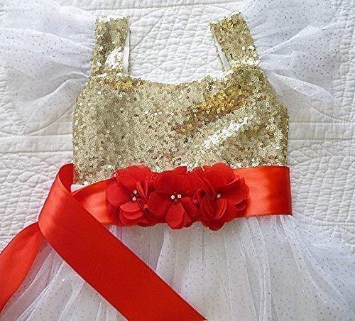 Girl's Red Satin Ribbon Sash, Triple Flower Chiffon Floral Belt, Flower Girl Dress Sash, Weddings, Kids Fashions, Birthday Photo Prop,