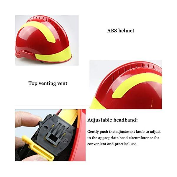 Casco Protector Profesional Anti-Impacto para Bomberos con Faro Hopcd Casco de Seguridad de Rescate de Emergencia Gafas 53cm-63cm//20.9-24.8in tama/ño Ajustable
