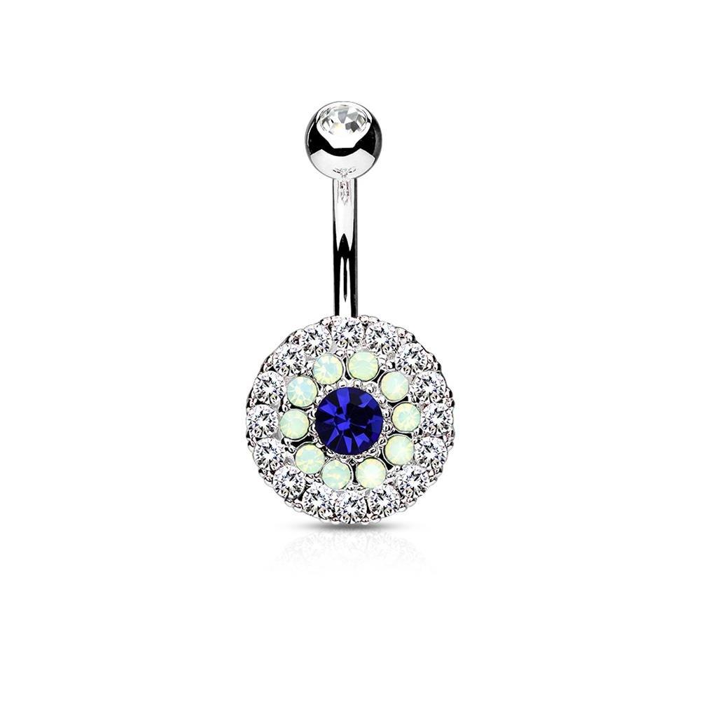 Bauchnabelpiercing Nabel Stecker Silber Vintage Antik Kristalle Blau /& Violett