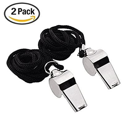 Gostscp Metal Referee, Coach Whistle - Stainless Steel - Extra Loud Whistle with Lanyard for School Sports, Soccer, Football, Basketball and Lifeguard Protection - 2 of Set