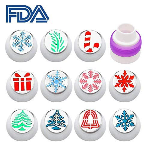 Decorator piping Tips, Russian Icing Piping Tips Set Christmas Festival Cakes Cupcakes Cookies Decorating Pastry Baking Tools Kit Icing Nozzel 1 Coupler cap Snow flake Tree leaves candy cane