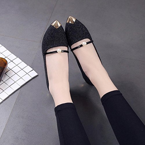 Single Toe Flat Low Black Shoes Mouth Shoes Heel Shoes Shallow Flat Ladies Women Shoes Pointed HGWXX7 Casual H6xnw8CPq