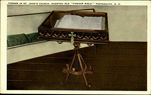 Corner In St. John'S Church, Showing Old 'Vinegar Bible, Portsmouth, New Hampshire Original Vintage Postcard