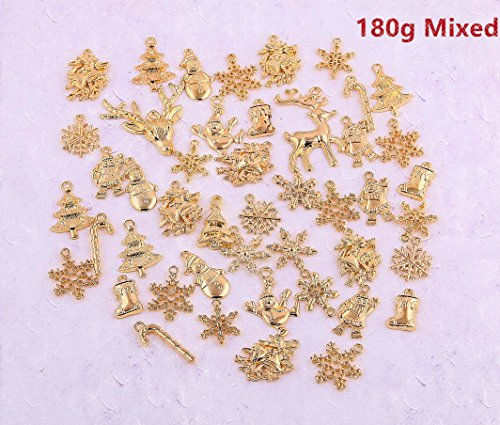 AuroTrends Mixed Gloden Christmas Tree Jingle Bell Candy Cane Snowflake Stocking Charm Pendants Pack of 180g (Mixed Christmas Pendants 180g)