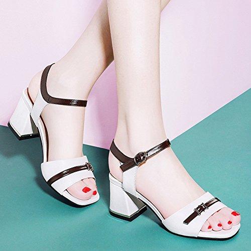 Jqdyl Tacones Nuevo Grueso con Tacones con Tacones Altos Zapatos de Verano Femeninos Verano Palabra Sandalias de Hebilla, 34, Blanco 34 white