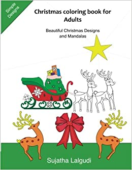Amazon Christmas Coloring Book For Adults MandalasChristmas Designs Simple Books Merry