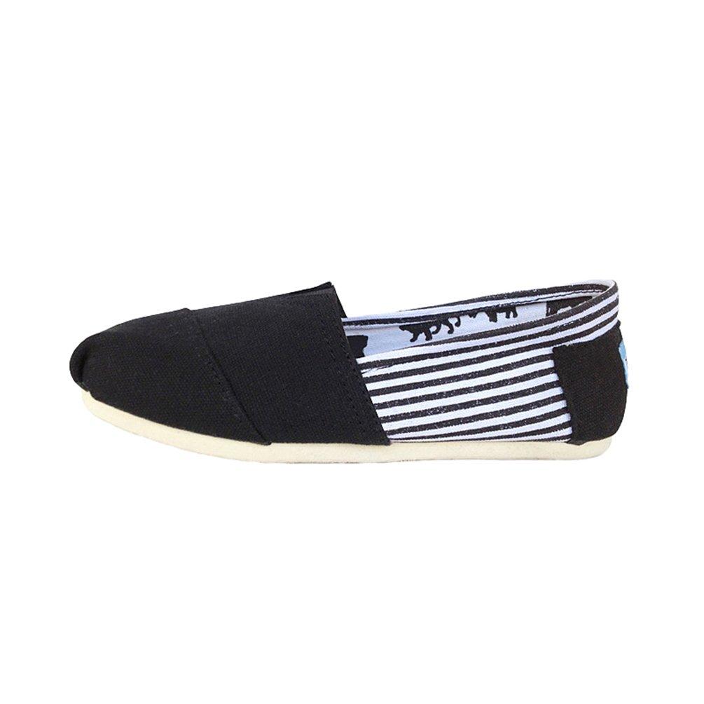 Dooxi Unisex Erwachsene Freizeit Loafers Comfort Espadrilles Mode Einfarbig Slip on Flach Freizeitschuhe Schwarz1