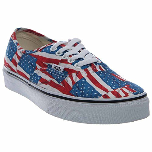 Vans MEN Authentic Free Flag Red Blue White 11.5 - Tracking First Number Class For Mail