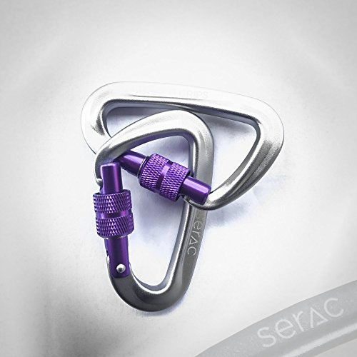 #1 Serac Ultra Strength Locking Carabiners x2 (up to 5KN, that's 1100 lbs of force!) Perfect for Serac Classic Single or Sequoia Double hammocks - Made from Ultralight Aircraft Grade Aluminum – Purple