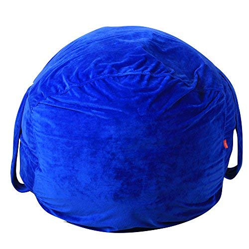 Gotian Toy Storage Bag, Kids Stuffed Animal Plush Toy Storage Bean Bag Soft Pouch Stripe Fabric Chair, Kids Rug Portable Kids Toys Organizer Storage Bag Play Mat (Blue) from Gotian