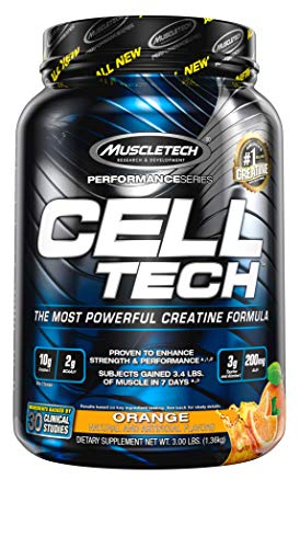 Creatine Monohydrate Powder + Carb Mass Gainer | MuscleTech Cell-Tech | Post Workout Recovery Drink | Muscle Recovery + Muscle Builder | Amino Acids, BCAA Powder | Orange, 3 lbs (28 Servings)