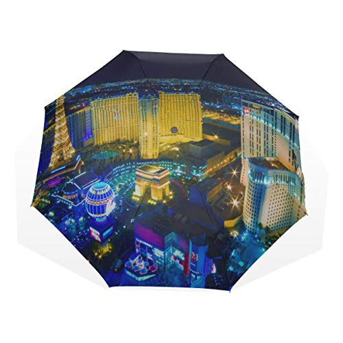 Paris Las Vegas Hotel Casino - Travel Umbrella Las Vegas Avenue Nevada Usa Night Anti Uv Compact 3 Fold Art Lightweight Foldable Umbrellas(outside Printing) Windproof Rain Sun Protection Umbrellas For Women Girls Kids
