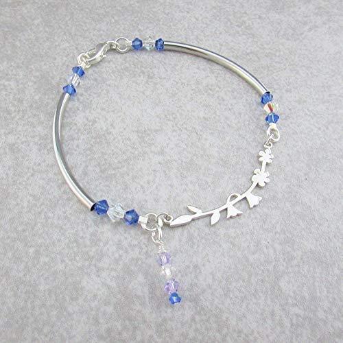 Silver Blue Bell Flower Bracelet, Flower Silhouettes Pendant Bracelet, Whimsical Bracelet or Anklet