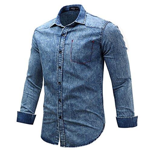 NeeKer Jacket Winter Shirts Men Long Sleeve Denim Shirt Fake Pocket Plus Size 3XL Button Casual Shirt 112 Blue EUR Size L