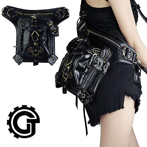 22 Messenger Bag Shoulder Bag Black Leather Waterproof Handbag Crossbody Adjustable Shoulder Strap Retro Rock Style Suitable for Men and Women (Sex Pistols Black Leather)