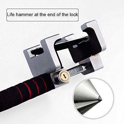 JXHD Car lock, car steering wheel lock Car truck universal Car adjustable anti-theft lock Heavy duty safety hammer Self-defense hand tool with emergency safety hammer by JXHD (Image #2)