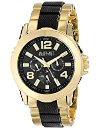 August Steiner Men's AS8114YG Multifunction Gold-Tone and Black Bracelet Watch
