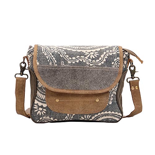- Myra Bag Midnight Blue Upcycled Canvas & Cowhide Messenger Bag S-1450