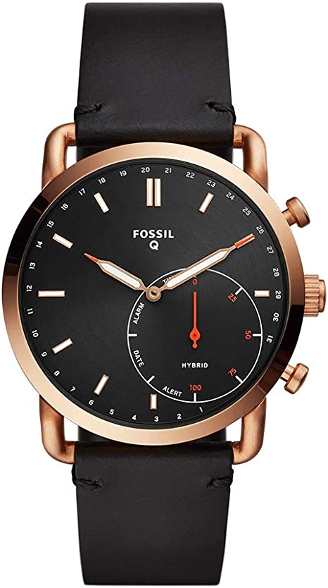 Fossil Mens Commuter Stainless Steel Leather Hybrid Smartwatch Rose Gold Black (Model: FTW1176)